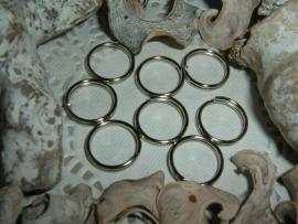 Mooie kleine  zilverkleurige sleutelringen van 15 mm.