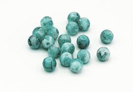 50 Stuks mooie gemêleerde turquoise/groene glaskralen 6 mm.