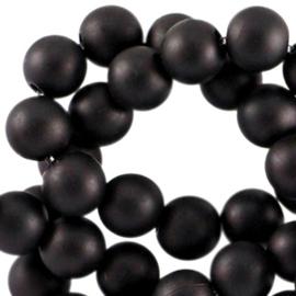 60 stuks Acryl kralen mat rond 6mm Zwart