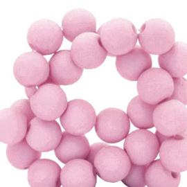 60 stuks Acryl kralen Roze-paars mat 6mm