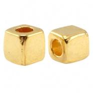 10 stuks DQ metalen kraal vierkant 3 mm Goud (nikkelvrij)