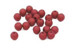 50 stuks Acryl kralen mat donker aubergine rood 8mm.