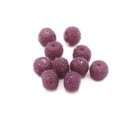 Mooie auberginekleurige glitterkralen van 8 mm.