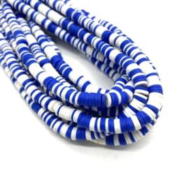 Katsuki kralen 6 mm mix blauw/wit per streng