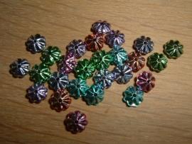 Kleine bloemetjes kralen in metallic kleuren