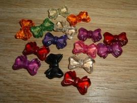 15 Stuks mooie kralen in de vorm van een gekleurd strikje