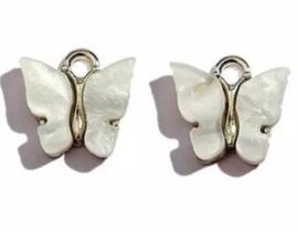 Bedel vlinder zilver Wit