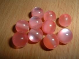 10 Mooie ronde roze Moonglow kralen