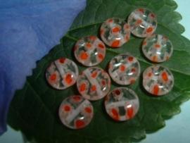 10 stuks transparante millefiori kralen met oranje spikkels 8 mm.