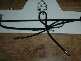 Mooie zwarte veter choker ketting met strik
