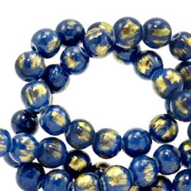 6 mm natuursteen kralen Blauw-goud