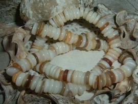 Schelp kralen disc beige ivoor parelmoer 8 mm.