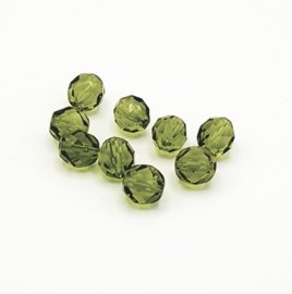20 Stuks transparant groene facetkralen van 8 mm.