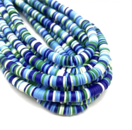 Katsuki kralen 6 mm mix multi blauw per streng