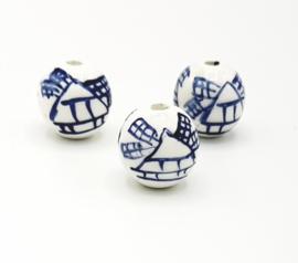 Mooie ronde Delftsblauwe keramieke kralen met molen 16 mm.