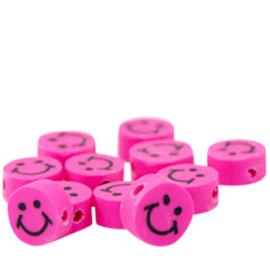 40 stuks Polymeer kralen smiley Hard roze