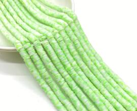 Katsuki kralen 5 mm  groen/wit per streng (fluoriserend)