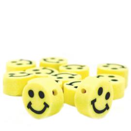 40 stuks Polymeer kralen smiley Geel