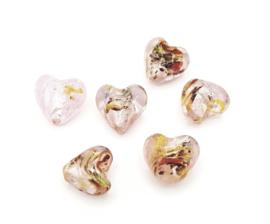 5 stuks roze zilverfolie hart kralen 10 mm.