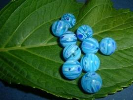 10 stuks aquablauwe ronde millefiori kralen 10 mm.
