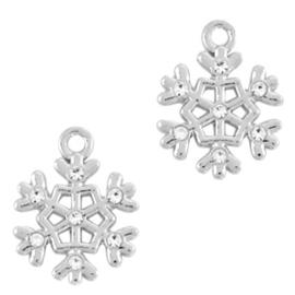 Basic Quality metalen bedels sneeuwvlok Zilver