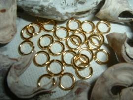 Mooie DQ metalen goudkleurige ringetjes (nikkelvrij) van 6.5 mm.