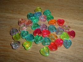 25 Mooie glanzende gekleurde mini hartjes