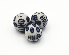 """Mooie grote ronde delfsblauwe kralen met tekst """"Holland"""""""