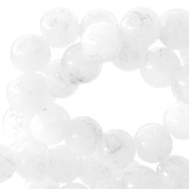 50 stuks Transparant Gemêleerde glaskralen wit 6mm.
