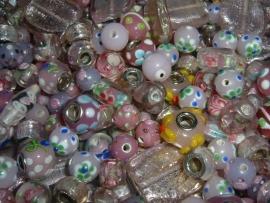 100 gram luxe roze lampwork glasmix