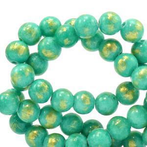 6 mm natuursteen kralen Turquoise groen-goud