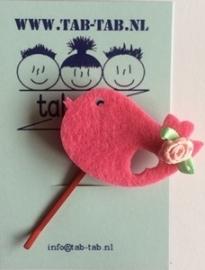 KK schuifje Bird roze+roosje