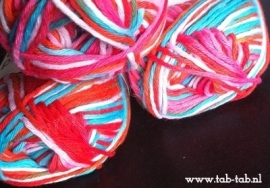 Cotton Print Aran *rood-turquoise-roze-wit*