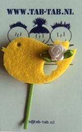 KK schuifje Bird geel + roosje wit