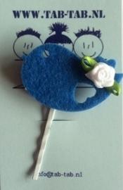 KK schuifje Bird blauw +roosje wit