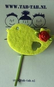 KK schuifje Bird groen +roosje rood