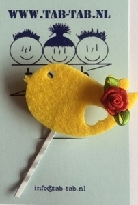 KK schuifje Bird geel + roosje rood