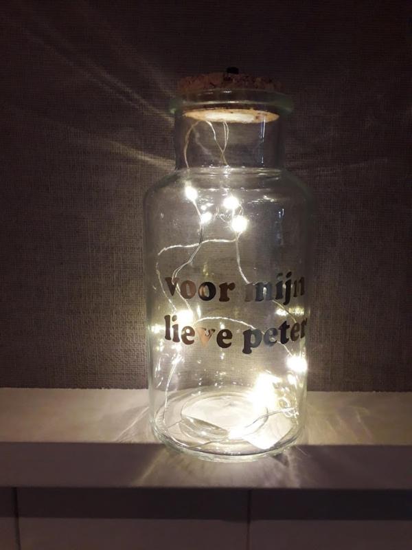 fles met lichtjes