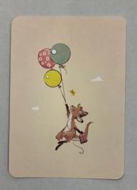 Baby kangaroo komt je feliciteren kaart