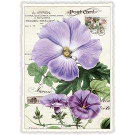 Lila bloemenkaart met glitter