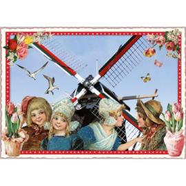 Hollandse molen glitterkaart