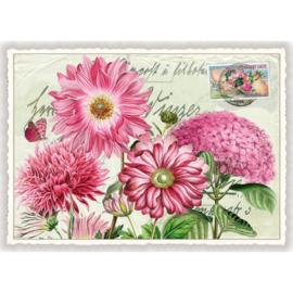 Roze bloemen glitterkaart