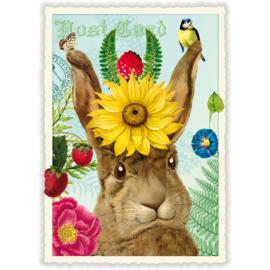 Blij konijn glitterkaart