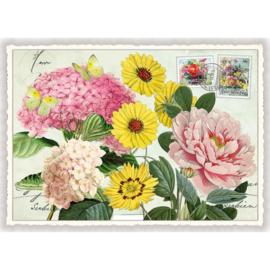 Bloemen en glitters kaart