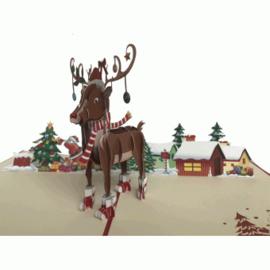 Kerstdorp met rendier pop-upkaart