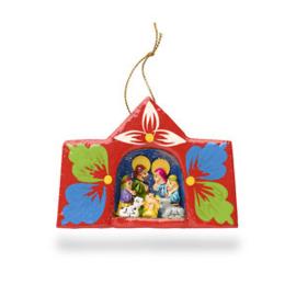 Kerststal venster van aardewerk