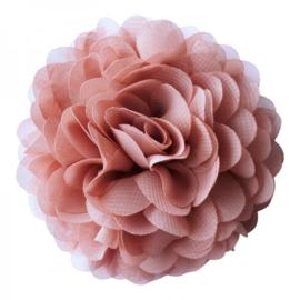 Chiffon bloemcorsage - Oldpink