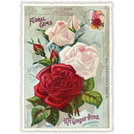 Rode en witte rozen kaart met glitters
