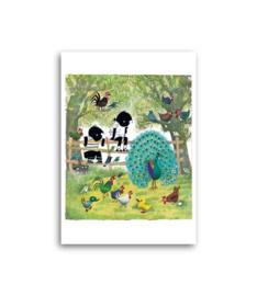 Jip en Janneke met vogels, kipjes en een pauw