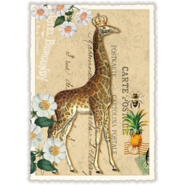 Giraffe met glitters kaart